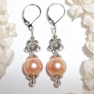Peach Earrings Set Flower Faux Pearl Dangle 5005